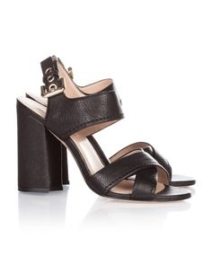 High heel sandals in black leather