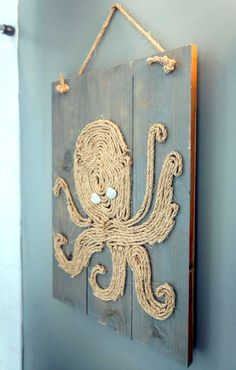 Octopus rope wall art: http://www.completely-coastal.com/2015/10/coastal-beach-wall-art-wood-panels.html