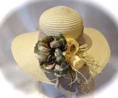 Teal Kentucky Derby Hat & Ivory Roses Mother of by Marcellefinery, $44.00