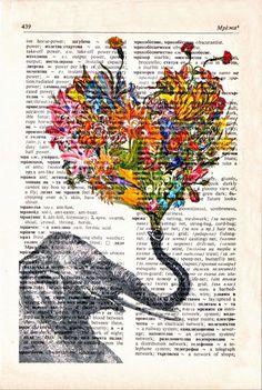 Artwork on vintage dictionary page. I'm not sure what vintage dictionary means, but I like it! Happy Elephant, Elephant Love, Elephant Design, Elephant Art, Elephant Sketch, Colorful Elephant, Vintage Elephant, Elephant Colour, Flower Wall Decor