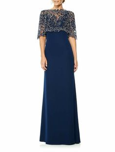 Floor-Length High Neck Appliqued Half Sleeve Jersey Evening Dress With Illusion Mob Dresses, Fashion Dresses, Wedding Dresses, Elegant Dresses, Beautiful Dresses, Traje A Rigor, Dinner Gowns, Mother Of Groom Dresses, Gowns With Sleeves