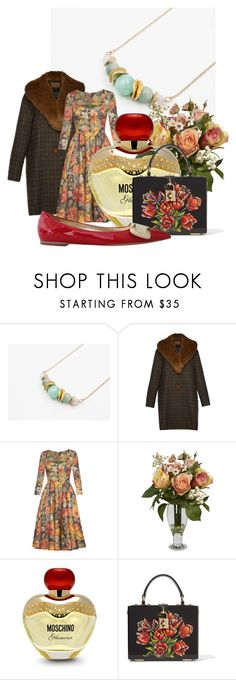 """""""YUN BOUTIQUE"""" by mileypiters ❤ liked on Polyvore featuring Lena Hoschek, Nearly Natural, Moschino, Dolce&Gabbana and Roger Vivier"""