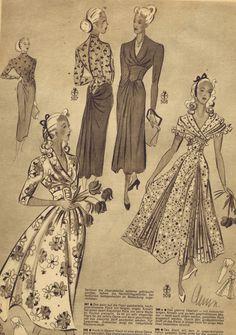 FREE Vintage 1940s Sewing Patterns | German Die Alma Mode Winter 1947 | 1948