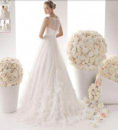 billige brudekjoler|Parfume Rose applique organza stropløs hvid brudekjole_billige brudekjoler online shop