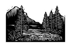 Illustration about Woodcut style expressionist landscape with trees and river. Illustration of woodcut, landscape, west - 31174061 Lino Art, Woodcut Art, Linocut Prints, Art Prints, Block Prints, Landscape Clipart, Scratchboard Art, Stock Image, Black And White Illustration