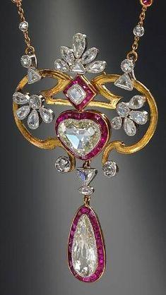 Diamond and ruby pendant necklace, French, ca. 1900. Bonhams, Fine Jewelry, Oct. 2008.