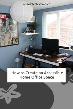 If you're looking to create a home office that's wheelchair accessible - even if you're short on space, take a look at my ideas over on my blog! Home Office Space, Office Spaces, Office Desk, Spare Room, Dining Table, Sofa, Create, Blog, Furniture