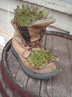 Boot planters as center pieces, auction off. Thrift shop and some succulents. Succulent Gardening, Garden Planters, Planting Succulents, Planting Flowers, Organic Gardening, Garden Crafts, Garden Projects, Garden Art, Garden Design