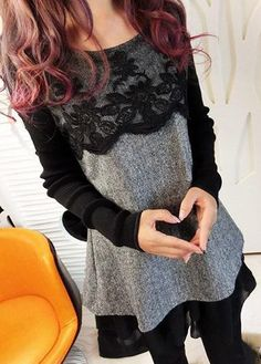 Grey Long Sleeve Lace Panel Layered Blouse on sale only US$33.00 now, buy cheap Grey Long Sleeve Lace Panel Layered Blouse at liligal.com