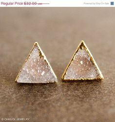 Vanilla Druzy Quartz Stud Earrings - Pyramid Posts, Triangles - 14K GF Posts