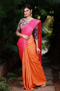 Buy Designer Blouses online, Custom Design Blouses, Ready Made Blouses, Saree Blouse patterns at our online shop House of Blouse from India. Saree Color Combinations, Color Combinations For Clothes, Kurti Neck Designs, Saree Blouse Designs, Cutwork Saree, Modern Saree, Stylish Sarees, Blouse Patterns, Henna Patterns