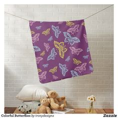 Colorful Butterflies Swaddle Blankets