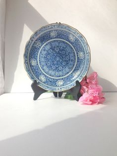 Blue and White Asian Decorative Plate by by EncoreVintageDecor, $16.00