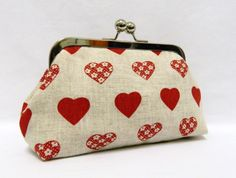 Clutch Purse Linen Clutch with Heart Shapes by TheHeartLabel, £21.20