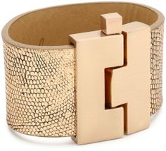"""Leighelena """"Jigsaw Buckle Bracelet"""" Wide Copper Antique Lizard Bracelet Leighelena. $105.00. Brushed Rose Gold-Tone Finish on Buckle. Items that are handmade may vary in size, shape and color. Due to the use of natural skins, color and texture may vary slightly. Made in United States"""