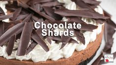How to Make Chocolate Shards - a simple way to garnish chocolate desserts!, Desserts, These Chocolate Shards are super easy to create and make for an elegant, impressive presentation! Chocolate Cheesecake, Chocolate Desserts, Chocolate Bowls, Chocolate Decorations For Cake, Cake Decorating Techniques, Cake Decorating Tips, Sweet Recipes, Cake Recipes, Dessert Recipes