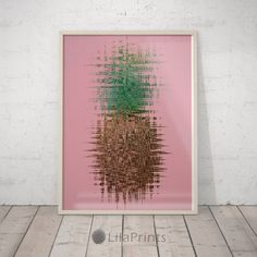 Pineapple Digital Artwork, Pink Fruit Wall Art.  Perfect artwork for the modernist home or office. Modern, chic, sophisticated.  PRINTABLE, DIGITAL DOWNLOAD. NO PHYSICAL PRINTS INCLUDED -----------------------------------------------------------------------------------------  MULTIPLE SIZES = You will get 18 sizes of the print!  You will receive 4 (Four) JPG files print files of very sharp 300dpi quality in RGB colors and 1 (One) Description sheet.  You can print any size described below...