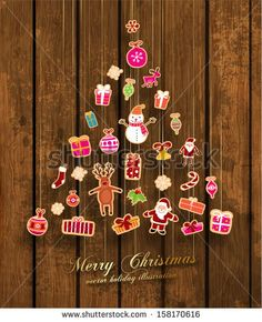 Christmas Tree made of Xmas icons, Wooden Background, Vector - stock vector