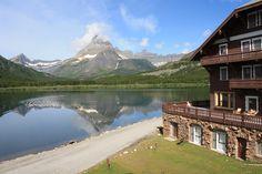 Many Glacier Lodge on Swiftcurrent Lake in Glacier Ntl. Park, Montana.