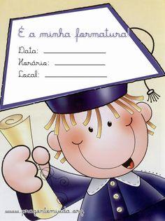 Convites de formatura para imprimir Kindergarten Graduation, Preschool Themes, Graduation Cards, School Gifts, Card Envelopes, School Holidays, Graduate School, Clipart, Teacher Gifts