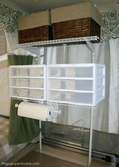 Pop Up Camper Mods: Tension Rod Wire Shelving. I loved this idea so much, I had hubby make me one...xxx