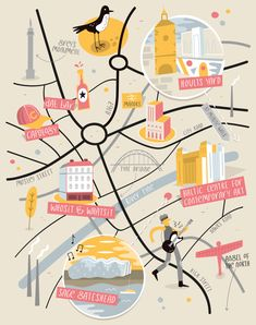 Amazing Map Illustration Examples and Tips on How to Create Them Illustration Example, Travel Illustration, Map Illustrations, Flat Illustration, Newcastle Map, Vektor Muster, Adobe Illustrator, Map Projects, City Map Poster
