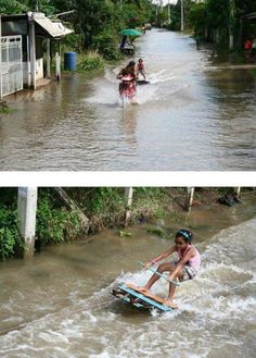 Great pics of Thai ingenuity in response to the flooding.