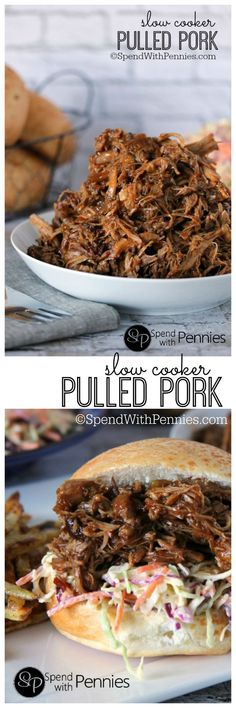 Our Favorite! Slow Cooker Pulled Pork with Zesty Slaw! This is the most tender and delicious pork you'll ever make... paired with a simple homemade zesty slaw, this dinner will have your family asking for more!