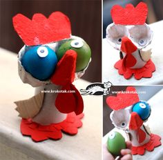 Really cute - all from a cardboard egg carton Farm Crafts, Easter Crafts For Kids, Diy For Kids, Diy And Crafts, Arts And Crafts, Egg Carton Crafts, Diy Ostern, Recycled Crafts, Spring Crafts
