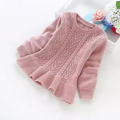 2016 New Winter Children's Clothing Years Girls Solid Color Knitted Sweater Girls Cotton Sweater – Kid Shop Global – Kids & Baby Shop Online – Baby & Kids Clothing, Toys For Baby & Child Girls Sweaters, Baby Sweaters, Winter Sweaters, Knit Sweaters, Baby Knitting Patterns, Knitting For Kids, Start Knitting, Pull Bebe, Fashion Kids