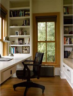 small office space. office in the bedroom - narrow desk, wall mount the iMac and shelves off to the side.