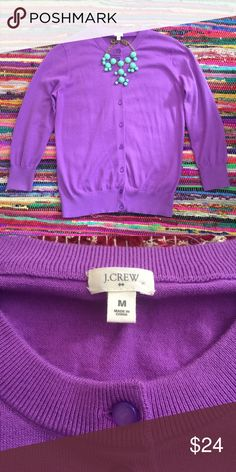 "J.Crew 100% Cotton Cardigan J.Crew 100% cotton Cardigan in purple in EUC. Worn once. No signs of wear. Size M with purple pearlized buttons. It can easily be dressed up or down, bracelet sleeves 19"". J. Crew Sweaters Cardigans"