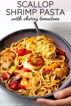Shrimp Scallop Pasta with Cherry TomatoesThis scallop shrimp pasta with burst cherry tomatoes is perfect as not only quick and easy weeknight meals but also fancy date night dinners. It is so flavorful with sweetness from fresh seafood and umami from Linguine Recipes, Seafood Pasta Recipes, Fish Recipes, Seafood Meals, Pasta Food, Pasta With Seafood, Healthy Shrimp Pasta, Seafood Linguine, Shrimp Meals