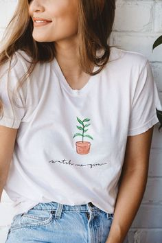 Grow with me illustration printed quite possibly the softest most comfortable shirt that you will ever wear. I hope you love it as much as I do. Stylish Summer Outfits, Casual Outfits, Cute Outfits, Fashion Outfits, Women's Fashion, Kristin Johns, T Shirts For Women, Clothes For Women, Ladies Clothes