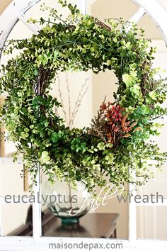 Create your own gorgeous eucalyptus wreath for a FRACTION of the cost of buying one! via maisondepax.com #wreath #green #fall #floral