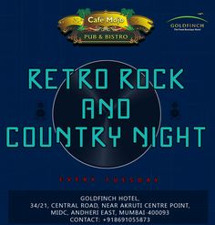 Every ‪#‎TuesdayNight‬ it's Retro, Rock & Country Night. Have a good time at Cafe Mojo Mumbai ‪#‎PartyInMumbai‬ #Pubs #Party #Beer #Fun #Beers #Enjoy #GoodTimes #OntheBar  #Parties #PartyMusic #DrinkLocal #Music #Dance #Pub #Drinks #EatLocal  #BeerDrinks #Mumbai #OnthePub.