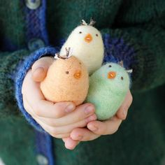 Trio of Small Felted Easter Chicks - Felted Toy Set