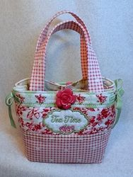 Tea Time Mug Tote - 6x10 | In the Hoop | Machine Embroidery Designs | SWAKembroidery.com