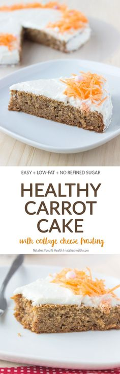 Easy Carrot Cake with Cottage Cheese Frosting made with all HEALTHY ingredients, refined sugar-free and low-calorie. Perfect Easter spring dessert.