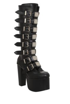Demonia Torment Black Platform Knee-High Boots. It is statistically proven that by adding higher platforms and more buckles, you become even more of a badass mofo.