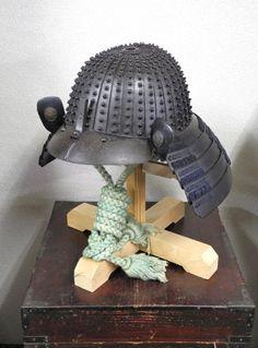 Russet Iron 32 plates Zaboshi Helmet signed by Jou Shu Ju Saotome Ienari.  [Mei ~ Joushu Ju Saotome Ienari] Edo period .