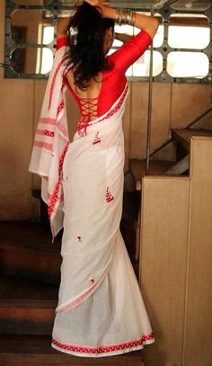 The lovely red and white combo on the kalkati sari Gorgeous paired with a sensuous blouse                                                                                                                                                      More - blouses, black, button up, tops, boho, simple blouse *ad