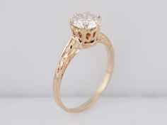 Antique Engagement Ring Art Deco .90ct Round Brilliant Cut Diamond in 14k Yellow Gold. Minneapolis, MN.