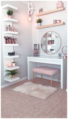 dream rooms for teens * dream rooms ; dream rooms for teens ; dream rooms for adults ; dream rooms for women ; dream rooms for couples ; dream rooms for adults bedrooms Home Decor Shelves, Wall Shelf Decor, Room Ideas Bedroom, Room Decor Bedroom Rose Gold, Teen Bedroom Designs, Cheap Bedroom Ideas, Blush Pink Bedroom, Desk In Bedroom, Bright Bedroom Ideas