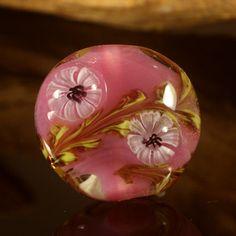 Lampwork flower lentil bead by Sanstyle on Etsy, $12.00