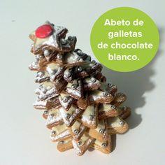 Si quieres hacer algo diferente al roscón de Reyes, tal vez te guste este abeto de galletas con chocolate blanco... ¡está delicioso! http://www.guiainfantil.com/recetas/recetas-de-navidad/abeto-de-galletas-de-azucar-y-chocolate-blanco-para-navidad/