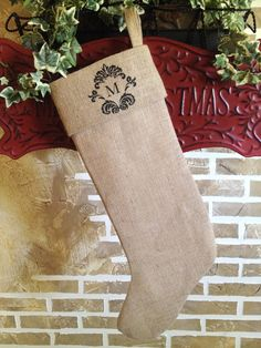 Damask Monogrammed Christmas Stocking by SimplyFrenchMarket