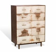 Sabrina Tall Chest or Dresser in Natural Vellum with Wood Frame and Metal Feet Vellum is a Natural Product and Will Vary From Piece to Piece