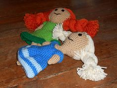 """Here is a pattern for two dolls that appear in the movie Disney's Frozen. They appear during the song """"Do You Want to Build a Snowman"""" during the first verse. Anna appears playing with two dolls that look like her and her sister. Whether these dolls be for your daughter, your grand-daughter, one of your friends, or for yourself they are just too cute."""