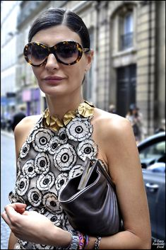 Giovanna Battaglia looking positively smashing in that swirly top. Rock. On. Lady.